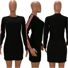 Black Striped Long Sleeve Mini Dress HM-6024