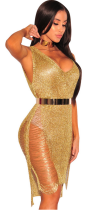 Golden See-thru Sexy Club Dress ZS-003
