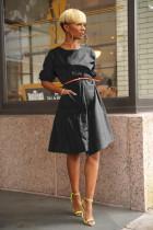 Casual Short Sleeve O Neck Loose Midi Dresses QY-5117