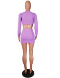 Purple 2Pcs Crop Top Mini Pencil Skirt Sets MTY-667