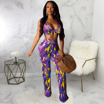 Sexy Printed Halter Crop Top And Pants 2 Piece Suit SMR-9342