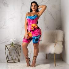 Sexy Printed Backless Bodycon Sling Playsuits WSM-5075