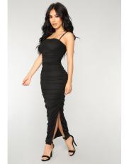 Black Spaghetti Strap Split Ruched Maxi Dress LS-0222