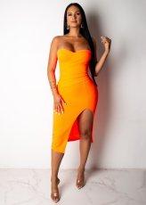 Orange Sexy Strapless Split Bodycon Tube Midi Dresses JH-112