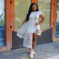 Fashion Short Sleeve Mesh Patchwork Mini Dress YH-5085