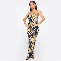 Retro Print Spaghetti Strap Criss Cross Backless Maxi Dress AWN-5031