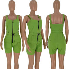 Solid Straps Sleeveless Front Zipper Casual Playsuit TK-6006