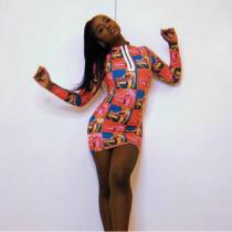 Printed O Neck Long Sleeve Mini Dress YIS-713