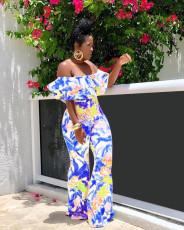 Floral Print Slash Neck Ruffles Jumpsuit MOF-5039-1