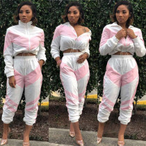 Patchwork Long Sleeve Tracksuit 2 Piece Set OD-8241