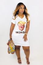 White Printed V Neck Short Sleeve T Shirt Dresses YMT-6093
