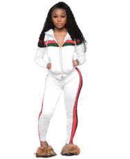 Blue Striped Zipper Hooded Tracksuit 2 Piece Set YN-9003