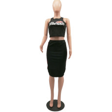 Black Tank Tops And Midi Skirt Set MTY-6135