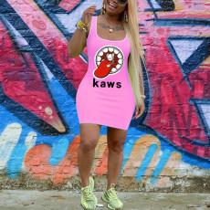 Fahsion Sleeveless Printed Slim Mini Dresses PN-6218