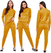 Solid Color Casual Tracksuit Two Piece Set MEM-8166