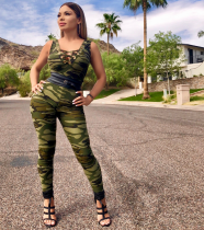 WZ-8087 Stylish Camouflage Printed Sleeveless Deep V Tight Jumpsuit Plus Size