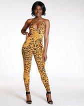Leopard Print Deep V Neck Backless Jumpsuit YM-9091