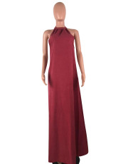 Wine Red Halter Loose Maxi Dress CQ-5187