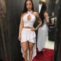 Sexy Halter Crop Top  Ruffles High Low Skirt 2 Piece Set MAE-207