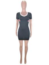Black Striped Short Sleeve V Neck Mini Desses CL-6015