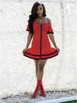 Sexy Slash Neck Ruffles Short Sleeve Front Zipper Mini Dress MEI-9041