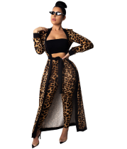 Leopard Print 2pcs Long Cardigan+Pants Set TE-3542