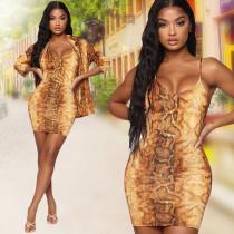 Snake Skin Print Spaghetti Strap Mini Dress And Coat TK-6017