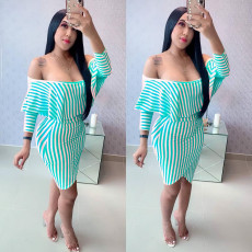 Sexy Stripes Ruffles Slash Neck Two Piece Skirt Sets MYP-8886