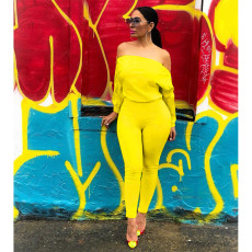 Solid Off Shoulder Long Sleeve Jumpsuits ASL-6193