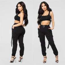 Black Cargo Pants With Belt Long Pencil Trousers LSL-6298
