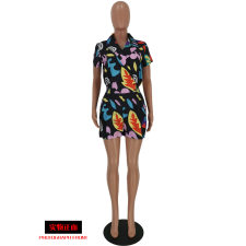 Sexy Printed V Neck Short Sleeve Rompers YH-5086