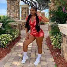 Sexy Striped Deep V Neck Short Sleeve Rompers PN-6220