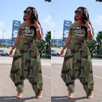 Camouflage Print Tube Tops Harem Pants 2 Piece Suits LSL-6309
