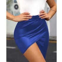 Sexy PU Leather Irregular Bodycon Mini Skirt MEM-8230