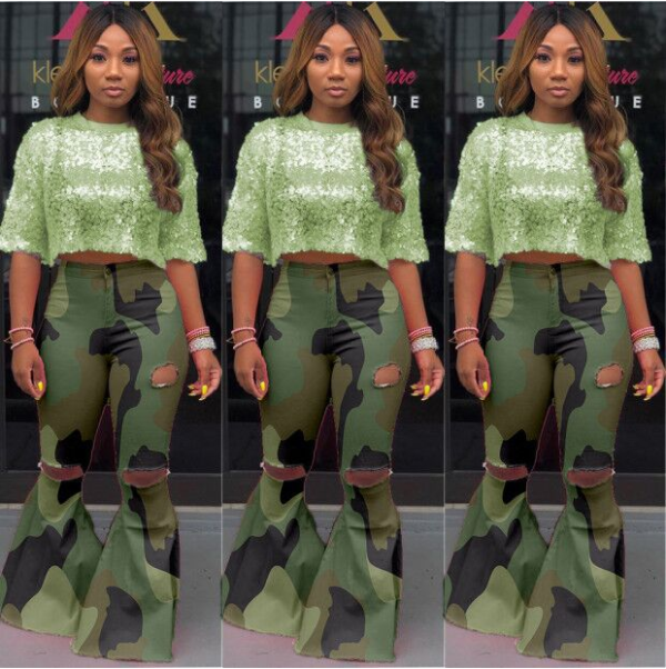 Plus Size Camouflage Ripped Holes Flares Bodycon Pants MOF-5111