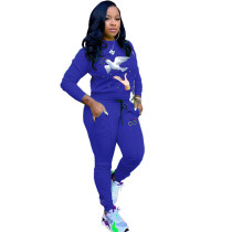 Casual Printed Tracksuit Long Sleeve Two Piece Sets TK-6026