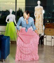 Fashion Pink Striped Ruffles Long Maxi Skirts YM-9158