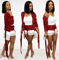 Women Long Cardigan And Shorts Leopard Printed Two Piece Sets FNN-8302