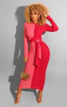 Color Spliced Long Sleeve Sashes Maxi Dresses CQ-5276