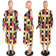 Colorful Plaid Full Sleeve O Neck Long Dresses MYP-8890