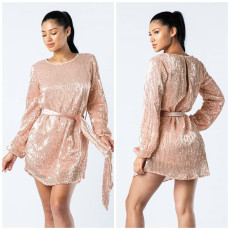 Shiny Sequined Long Sleeve O Neck Sashes Mini Dress OY-6053
