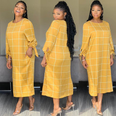 Casual Plaid Print Full Sleeve Long Maxi Dresses AWN-5054