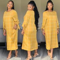 Casual Plaid Print Full Sleeve Long Maxi Dresses AWN-5054