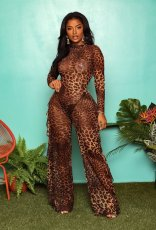 Sexy Leopard Print Ruffles Long Sleeve Bodycon Jumpsuits NIK-052