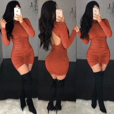 Sexy Backless Long Sleeve Ruched Bodycon Mini Dress BS-1124