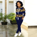 Leopard Print Hooded Long Sleeve Tracksuit 2 Piece Sets FST-7049