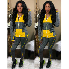 Casual Patchwork Tracksuit Hooded Two Piece Sets MEI-9055