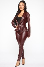 PU Leather Blazer Coat And Pants Two Piece Suits BGN-026