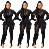 Lace Ruffles Long Sleeve Slim Jumpsuit YD-8042