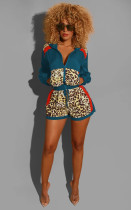 Leopard Print Patchwork Long Sleeve 2 Piece Shorts Set CM-612